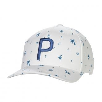 Palms Pattern Snapback Cap - Digi Blue / Bright White