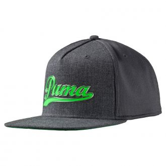 Youth Script Snapback Cap - Dark Gray Heather / Green Gecko