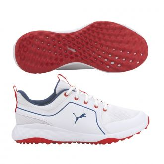 Grip Fusion Sport 2.0 Golf Shoes - Puma White / Dark Denim / High Risk Red