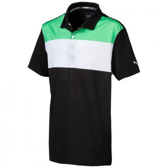 Juniors Nineties Golf Polo - Irish Green / Puma Black
