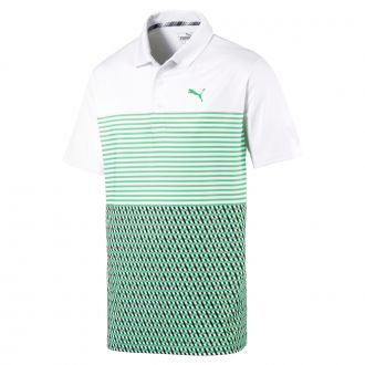 Juniors Road Map Golf Polo - Bright White / Irish Green