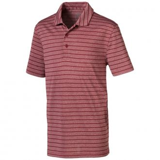 Juniors Rotation Stripe Golf Polo - Rhubarb