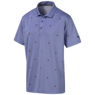 Ditsy Golf Polo - Dazzling Blue