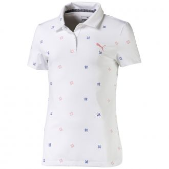 Junior Girls Ditsy Golf Polo - Bright White