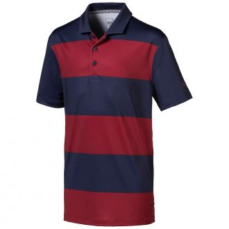 Juniors Rugby Stripe Golf Polo - Peacoat / Rhubarb