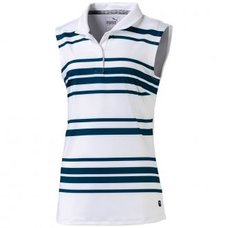 Junior Girls Sleeveless Stripe Golf Polo - Gibraltar Sea