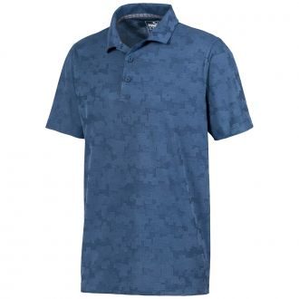 ALTERKNIT DIGI Camo Golf Polo - Dark Denim
