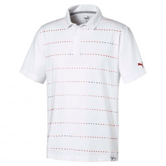 Fusion Dot Golf Polo - Bright White/ Mist Green