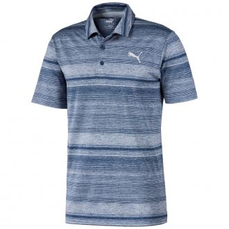 Variegated Stripe Golf Polo - Dark Denim Heather