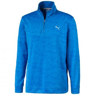 ALTERKNIT Digi Camo Golf 1/4 Zip - Ibiza Blue