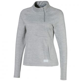 Womens Warm Up Golf 1/4 Zip - Quarry Heather