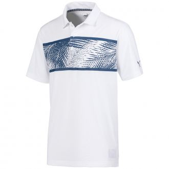 Palms Golf Polo - Bright White/ Dark Denim