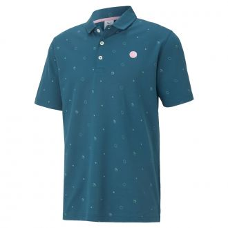 Legacy Print Golf Polo - Stone Blue