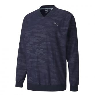 Camo Wind Longsleeve Golf Shirt - Peacoat