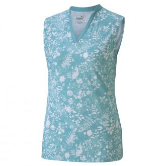 Women's Microfloral Sleeveless - Milky Blue