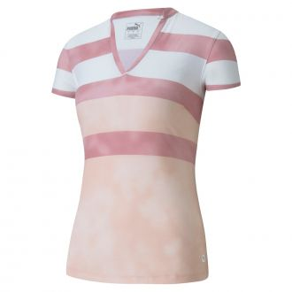 Women's Dye Stripe Polo - Peachskin