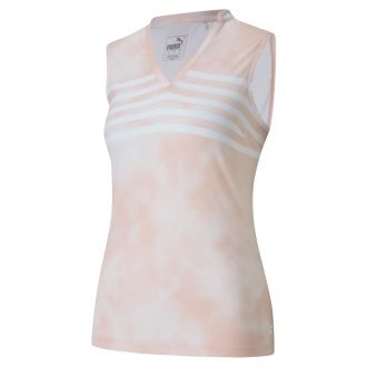 Women's Tie Dye Sleeveless Polo - Peachskin