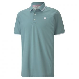 Signature Tipped Golf Polo - Stone Blue