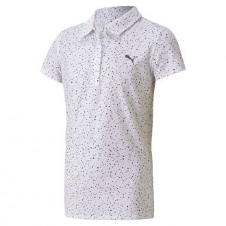 Girls Polka Dot Polo - Bright White / Peacoat