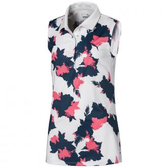 Girls Floral Sleeveless Polo - Dark Denim