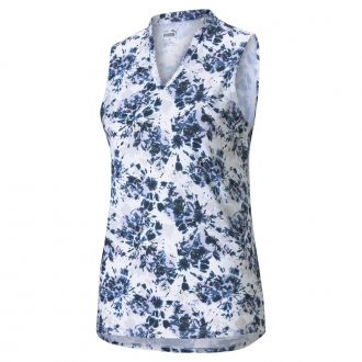 Women's CLOUDSPUN Floral Tie Dye Sleeveless Golf Polo