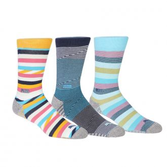 Fusion Stripe Crew Socks - 3 Pair Pack