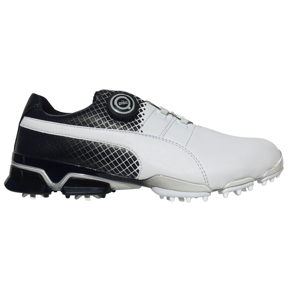 Mens Puma Titantour Cleated White Grey Golf Shoes Z79890
