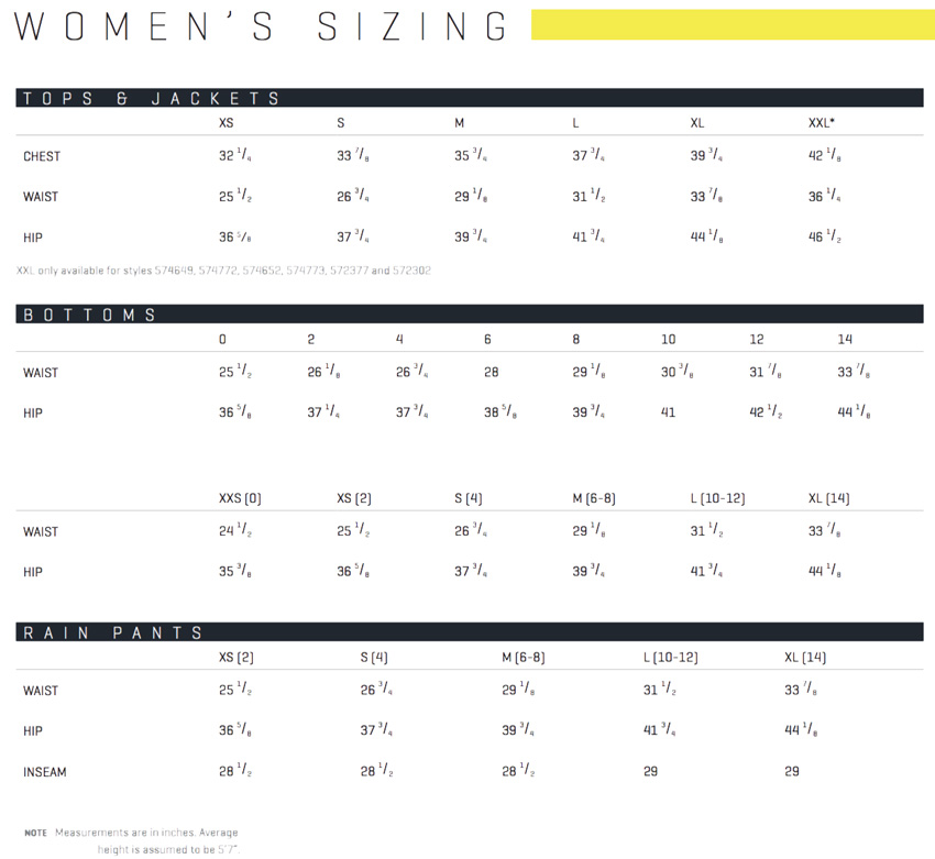 PUMA Golf Women's Sizing Chart